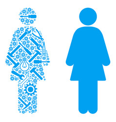 Woman person mosaic of service tools vector