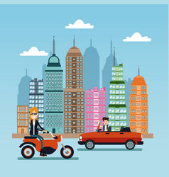 Woman scooter and man car city background vector