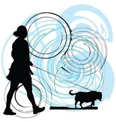 Woman walking her dog vector