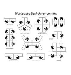 workspace desk arrangement in office and company vector image
