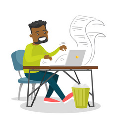 Young african-american man typing on a laptop vector
