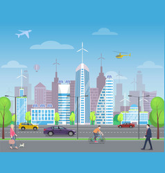 cityscape with passers-by and tall skyscrapers vector image