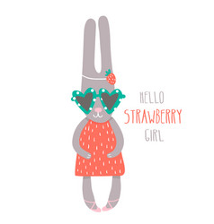 cute girl rabbit hand drawn vector image