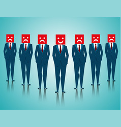 group businessman with facial expressions vector image vector image