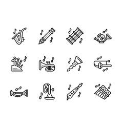 Music wind instruments black line icons set vector image