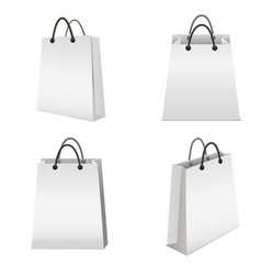 realistic template blank white paper bag set vector image vector image