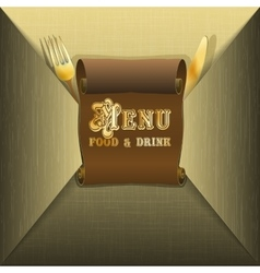 restaurant menu and scroll envelope vector image