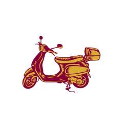 Scooter Bike Side Vintage Woodcut vector image vector image