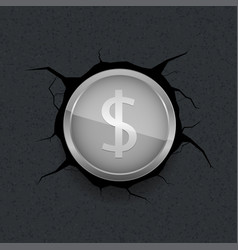 silver dollar on cracked background vector image vector image