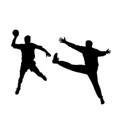 handball player and goalkeeper vector image vector image
