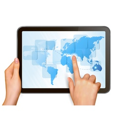 hands and tablet with world map vector image vector image