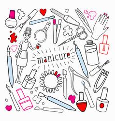 woman beauty cosmetics hand drawn set vector image vector image