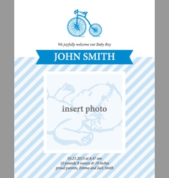 Baby boy announcement card template with bicycle vector image
