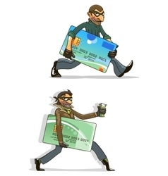 Cartoon thieves with stolen credit cards and money vector image