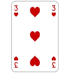 Poker playing card 3 heart vector image