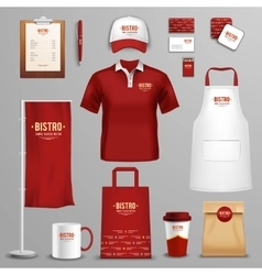 Restaurant cafe corporate identity icons set vector