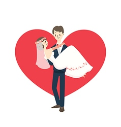 young wedding couple groom carrying bride cartoon vector image
