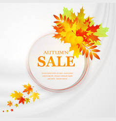 advertising discount banner with fallen leaves vector image