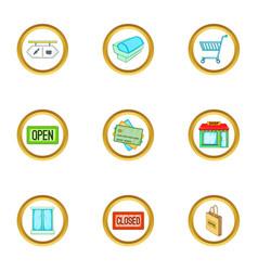 supermarket equipment icons set cartoon style vector image vector image