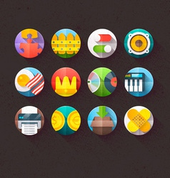Textured Flat Icons for mobile and web Set 6 vector image vector image