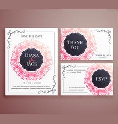wedding invitation card template design set vector image
