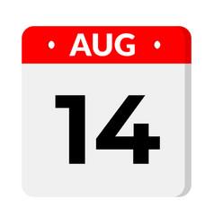 14 august calendar icon vector
