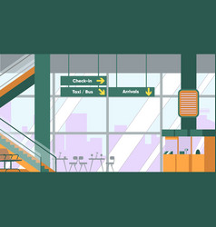 Airport terminal with registration desk timetable vector