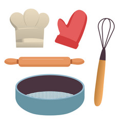 Baking tools kitchen equipment sieve and rolling vector