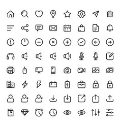 Basic line icon set for web and mobile vector