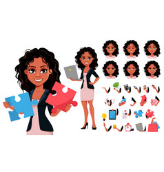 beautiful young african american business woman vector image