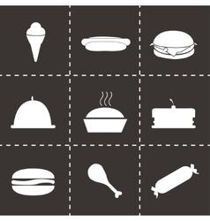 black food icons set vector image