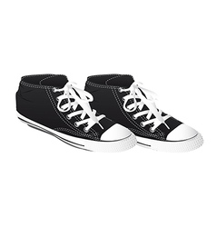 Black sneakers isolated over white background vector
