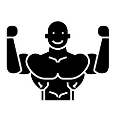 bodybuilder icon black sign vector image