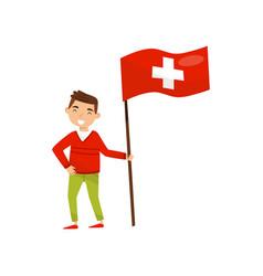 Boy holding national flag of switzerland design vector