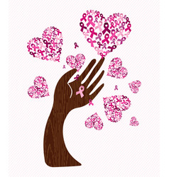 Breast cancer awareness love ribbon hand tree art vector