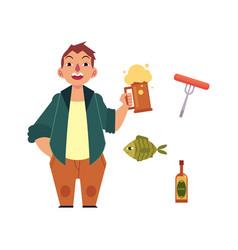 cartoon beer lover and symbols set vector image