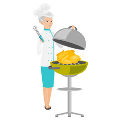 caucasian chef cooking chicken on barbecue grill vector image