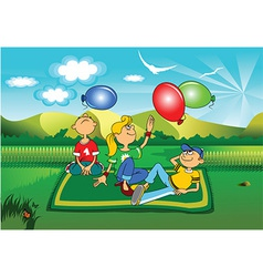 Children in the park cartoon vector