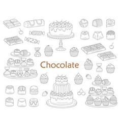 Chocolate dessert collection with chocolate cakes vector