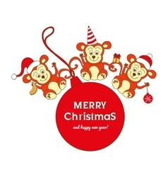 Christmas card with three cute monkeys vector image