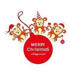 Christmas card with three cute monkeys vector image