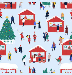 christmas street fair flat seamless pattern vector image