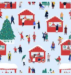 Christmas street fair flat seamless pattern vector
