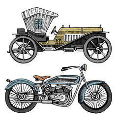 classic car machine or engine and motorcycle or vector image
