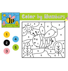 Color number game for kids coloring page with vector