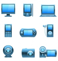 computer and media icons vector image