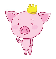 cute piggy in crown vector image