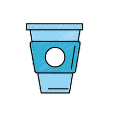 Delicious coffee in plastic cup icon vector