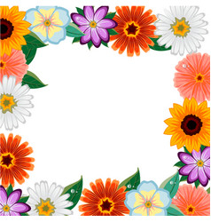 Different colorful flowers frame vector