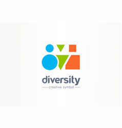diversity creative symbol concept different shape vector image